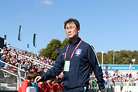 Cary, NC - Sunday October 22, 2017: Yoon Deokyeo prior to an International friendly match between the Women's National teams of the United States (USA) and South Korea (KOR) at Sahlen's Stadium at WakeMed Soccer Park. The U.S. won the game 6-0.