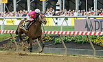 May 15, 2021: Rombauer, #6, ridden by jockey Flavien Prat wins the Preakness Stakes on Preakness Stakes Day at Pimlico Race Course in Baltimore, Maryland. Scott Serio/Eclipse Sportswire/CSM