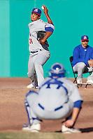 Devvi Jimenez #34 of the Stockton Ports throws in the bullpen before pitching against the High Desert Mavericks at Stater Bros. Stadium on April 27, 2013 in Adelanto, California. Stockton defeated High Desert, 17-7. (Larry Goren/Four Seam Images)