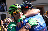 July 9th 2021. Carcassonne, Languedoc, France;  CAVENDISH Mark (GBR) of DECEUNINCK - QUICK-STEP celebrates the win during stage 13 of the 108th edition of the 2021 Tour de France cycling race, a stage of 219,9 kms between Nimes and Carcassonne.