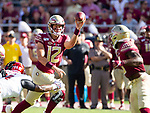 Florida State quarterback Alex Hornibrook (12) passes underneath to Florida State Seminoles running back Cam Akers (3) in the first half of an NCAA college football game against Louisville in Tallahassee, Fla., Saturday, Sept. 21, 2019.