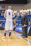 Texas-Arlington Mavericks assistant head coach Greg Young and Texas-Arlington Mavericks center Stuart Lagerson (5) in action during the game between the Arkansas Little Rock Trojans and the Texas Arlington Mavericks at the College Park Center arena in Arlington, Texas. UALR defeats UTA 72 to 70.