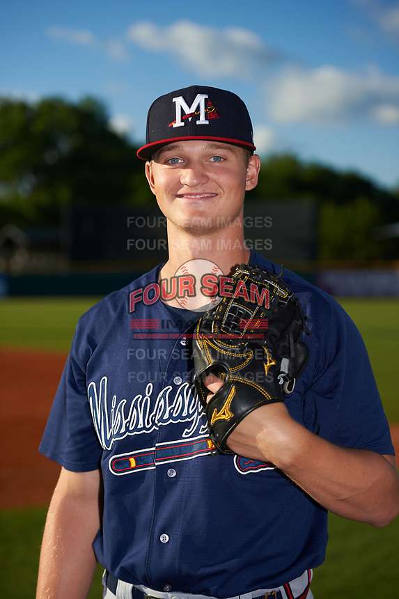 Mississippi Braves pitcher Mike Soroka (45) poses for a photo before a game against the Montgomery Biscuits on April 24, 2017 at Montgomery Riverwalk Stadium in Montgomery, Alabama.  Montgomery defeated Mississippi 3-2.  (Mike Janes/Four Seam Images)