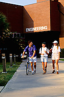 College students walking together towards class on campu