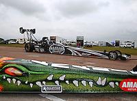 Apr 26, 2014; Baytown, TX, USA; NHRA top fuel driver Shawn Langdon during qualifying for the Spring Nationals at Royal Purple Raceway. Mandatory Credit: Mark J. Rebilas-