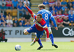 St Johnstone v Rangers... 30.07.11   SPL Week 2.Lee McCulloch is upended by Murray Davidson.Picture by Graeme Hart..Copyright Perthshire Picture Agency.Tel: 01738 623350  Mobile: 07990 594431