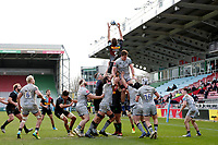 20th February 2021; Twickenham Stoop, London, England; English Premiership Rugby, Harlequins versus Sale Sharks; Stephan Lewies of Harlequins catches the ball from a line out