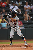 Andrew Fregia (3) of the Delmarva Shorebirds at bat during game one of the Northern Division, South Atlantic League Playoffs against the Hickory Crawdads at L.P. Frans Stadium on September 4, 2019 in Hickory, North Carolina. The Crawdads defeated the Shorebirds 4-3 to take a 1-0 lead in the series. (Tracy Proffitt/Four Seam Images)