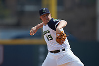 Gwinnett Stripers relief pitcher Jacob Webb (45) in action against the Scranton/Wilkes-Barre RailRiders at Coolray Field on August 18, 2019 in Lawrenceville, Georgia. The RailRiders defeated the Stripers 9-3. (Brian Westerholt/Four Seam Images)