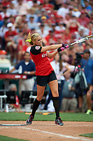 Softball legend Jennie Finch bats during the All-Star Legends and Celebrity Softball Game on July 12, 2015 at Great American Ball Park in Cincinnati, Ohio.  (Mike Janes/Four Seam Images)