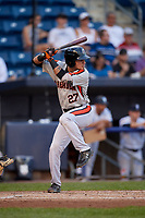 Aberdeen Ironbirds Joseph Ortiz (27) at bat during a NY-Penn League game against the Staten Island Yankees on August 22, 2019 at Richmond County Bank Ballpark in Staten Island, New York.  Aberdeen defeated Staten Island 4-1 in a rain shortened game.  (Mike Janes/Four Seam Images)