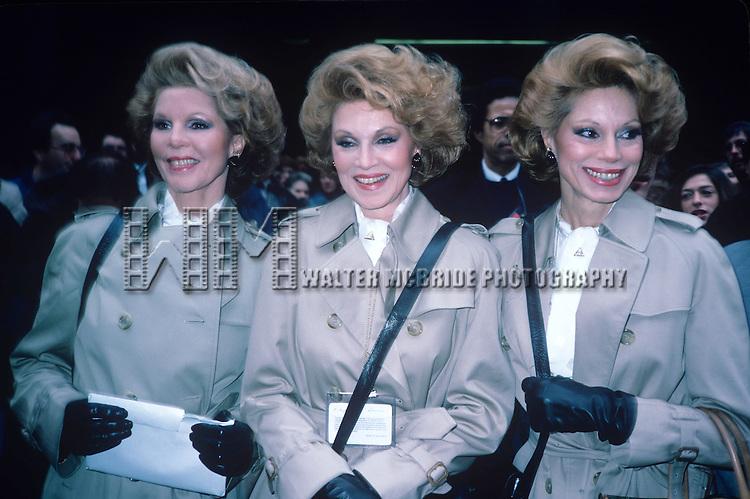 The McGuire Sisters photographed by Walter McBride in 1985 in New York City.