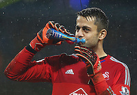 Swansea City goalkeeper Lukasz Fabianski takes a drink during the Barclays Premier League match between Manchester City and Swansea City played at the Etihad Stadium, Manchester on December 12th 2015