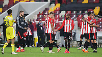 Brentford players celebrate their victory at the final whistle during Brentford vs Fulham, Caraboa Cup Football at the Brentford Community Stadium on 1st October 2020
