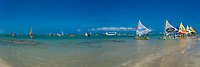 Porto de Galinhas, typical, colorful  Ipojuca boats panorama, on the sandy Atlantic Ocean beach in Pernambuco, near Recife Brazil