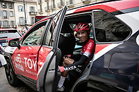 Nairo Quintana (COL/Arkea-Samsic) checking out the race directors car at the race start in Como<br /> <br /> 115th Il Lombardia 2021 (1.UWT)<br /> One day race from Como to Bergamo (ITA/239km)<br /> <br /> ©kramon