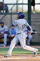 Jesmuel Valentin #10 of the AZL Dodgers bats against the AZL Athletics at Papago Park Baseball Complex on July 25, 2012 in Phoenix, Arizona. Dodgers defeated A's 3-1. (Larry Goren/Four Seam Images)