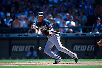 SEATTLE, WA - Roberto Alomar of the Cleveland Indians in action during a game against the Seattle Mariners at Safeco Field in Seattle, Washington on August 26, 2001. Photo by Brad Mangin