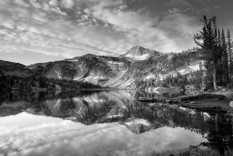 Evening light and reflection in Mirror Lake Lake with Eagle Cap Mountain. Eagle Cap Wilderness, Oregon