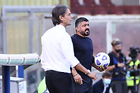Gennaro Gattuso coach of SSC Napoli and Filippo Inzaghi coach of Benevento Calcio<br /> during the Serie A football match between Benevento Calcio and SSC Napoli at stadio Ciro Vigorito in Benevento (Italy), October 25th, 2020. <br /> Photo Cesare Purini / Insidefoto