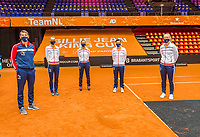 Den Bosch, The Netherlands, April 15, 2021,  Maaspoort, Billy Jean King Cup  Netherlands -  China : Draw ,  Dutch team ltr: Captain Paul Haarhuis,  Aranxta Rus, Lesley Pattinama-Kerkhove, Demi Schuurs and  Kiki Bertens.<br /> Photo: Tennisimages/Henk Koster