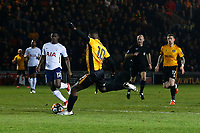 Frank Nouble of Newport County misses a shot during the Fly Emirates FA Cup Fourth Round match between Newport County and Tottenham Hotspur at Rodney Parade, Newport, Wales, UK. Saturday 27 January 2018