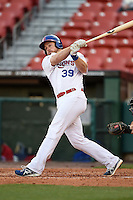 Buffalo Bisons catcher Erik Kratz (39) at bat during a game against the Louisville Bats on April 29, 2014 at Coca-Cola Field in Buffalo, New  York.  Buffalo defeated Louisville 4-1.  (Mike Janes/Four Seam Images)