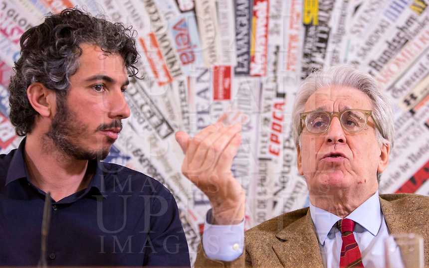 Italian journalist Gabriele Del Grande, left, flanked by Senator Luigi Manconi, during a press conference at the Foreign Press Association in Italy's headquarters in Rome, April 25, 2017, the day after his return from Turkey, where he had been detained for 2 weeks.<br /> UPDATE IMAGES PRESS/Riccardo De Luca