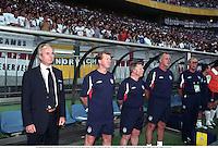 2nd June 2002; Japan; The England management from left SVEN GORAN ERIKSSON, STEVE McLAREN, SAMMY LEE, RAY CLEMENCE, ENGLAND 1 v Sweden 1, Group F, 2002 World Cup, Saitama, Japan