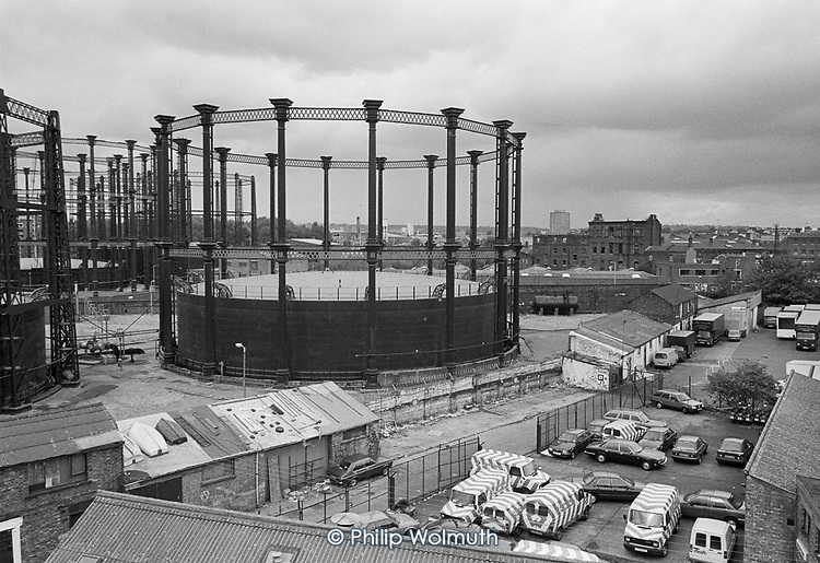 Gasometers and the derelict Coal House  seen from Culross Buildings, Kings Cross, London 1990.