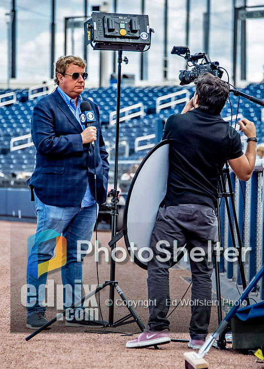7 March 2019: Broadcast commentator and former MLB General Manager Jim Bowden works pre-game prior to a Spring Training matchup between the New York Mets and the Washington Nationals at the Ballpark of the Palm Beaches in West Palm Beach, Florida. The Nationals defeated the visiting Mets 6-4 in Grapefruit League, pre-season play. Mandatory Credit: Ed Wolfstein Photo *** RAW (NEF) Image File Available ***