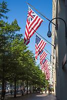 Varieties of American Flags Decorate Pennsylvania Avenue Side of Federal Bureau of Investigation, FBI, J Edgar Hoover Building, Washington DC, USA.