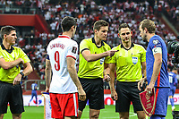 8th September 2021; PGE National Stadium, Warsaw, Poland: FIFA World Cup 2022 Football qualification, Poland versus England;  ROBERT LEWANDOWSKI and HARRY KANE at the coin toss pre-game
