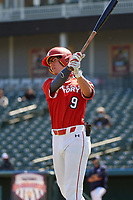 Tommy DiLandri (9) bats during the Baseball Factory All-Star Classic at Dr. Pepper Ballpark on October 4, 2020 in Frisco, Texas.  Tommy DiLandri (9), a resident of Las Vegas, Nevada, attends Palo Verde High School.  (Mike Augustin/Four Seam Images)