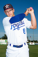 Chase Vallot (8) of the Burlington Royals poses for a photo prior to the game against the Danville Braves at Burlington Athletic Park on July 5, 2014 in Burlington, North Carolina.  (Brian Westerholt/Four Seam Images)