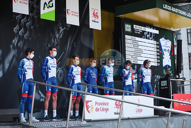 Groupama-FDJ at the team presentations before the start of the 107th edition of Liege-Bastogne-Liege 2021, running 259.1km from Liege to Liege, Belgium. 25th April 2021.  <br /> Picture: A.S.O./Aurelien Vialatte | Cyclefile<br /> <br /> All photos usage must carry mandatory copyright credit (© Cyclefile | A.S.O./Aurelien Vialatte)