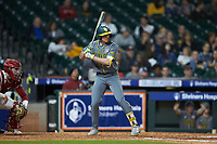 Nick Loftin (2) of the Baylor Bears at bat against the Arkansas Razorbacks in game nine of the 2020 Shriners Hospitals for Children College Classic at Minute Maid Park on March 1, 2020 in Houston, Texas. The Bears defeated the Razorbacks 3-2. (Brian Westerholt/Four Seam Images)