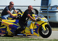 Jul, 9, 2011; Joliet, IL, USA: NHRA pro stock motorcycle rider Wesley Wells during qualifying for the Route 66 Nationals at Route 66 Raceway. Mandatory Credit: Mark J. Rebilas-