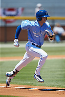 Jackson Lueck (34) of the Burlington Royals hustles down the first base line against the Greeneville Reds at Burlington Athletic Stadium on July 8, 2018 in Burlington, North Carolina. The Royals defeated the Reds 4-2.  (Brian Westerholt/Four Seam Images)