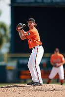 Baltimore Orioles pitcher Reed Hayes (41) gets ready to deliver a pitch during an Instructional League game against the Atlanta Braves on September 25, 2017 at Ed Smith Stadium in Sarasota, Florida.  (Mike Janes/Four Seam Images)