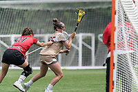 NEWTON, MA - MAY 14: Jenn Medjid #35 of Boston College on the attack during NCAA Division I Women's Lacrosse Tournament first round game between Fairfield University and Boston College at Newton Campus Lacrosse Field on May 14, 2021 in Newton, Massachusetts.