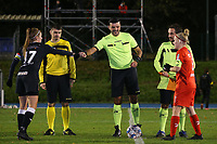 Captain Chloe Van Mingeroet of Aalst  (17) gives a fist bump to match referee Virgil Ifrim during a female soccer game between FC Femina White Star Woluwe and Eendracht Aalst on the sixth matchday of the 2020 - 2021 season of Belgian Scooore Womens Super League , friday 6 th of November 2020  in Woluwe , Belgium . PHOTO SPORTPIX.BE | SPP | SEVIL OKTEM