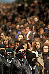Belfast Ireland 1980s The Troubles. INLA Irish National Liberation Army funeral female paramilitaries.