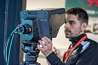Ewan Donaldson in the broadcast suite and studio for the Swansea City AFC live broadcasts at the Liberty Stadium, Wales, UK. Wednesday 30 November 2018