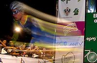 COLOMBIA. 16-08-2014. Un ciclista durante la contrarreloj individual nocturna de 17.5 Km en la penúltima etapa de la Vuelta a Colombia 2014 en bicicleta que se cumple entre el 6 y el 17 de agosto de 2014. / A cyclist during the night individual time trial of 17.5 Km in the penultimate stage of the Tour of Colombia 2014 in bike holds between 6 and 17 of August 2014. Photo:  VizzorImage/ José Miguel Palencia / Str