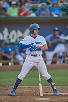 Zac Ching (25) of the Ogden Raptors at bat against the Rocky Mountain Vibes at Lindquist Field on July 6, 2019 in Ogden, Utah. The Vibes defeated the Raptors 7-2. (Stephen Smith/Four Seam Images)