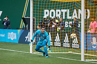 Portland, Oregon - Sunday September 22, 2019: Vito Mannone #1 watches a shot come off the post during a regular season game between Portland Timbers and Minnesota United at Providence Park on September 22, 2019 in Portland, Oregon.