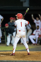 Matt McGarry (1) of the Belmont Abbey Crusaders at bat against the Catawba Indians at Abbey Yard on February 7, 2017 in Belmont, North Carolina.  The Crusaders defeated the Indians 12-9.  (Brian Westerholt/Four Seam Images)