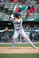 Lake County Captains first baseman Mitch Reeves (23) at bat against the South Bend Cubs on May 30, 2019 at Four Winds Field in South Bend, Indiana. The Captains defeated the Cubs 5-1.  (Andrew Woolley/Four Seam Images)