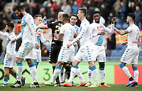 Napoli's players celebrate during the Serie A soccer match between Roma and Napoli at the Olympic stadium, 4 March 2017. Napoli won 2-1.<br /> UPDATE IMAGES PRESS/Isabella Bonotto